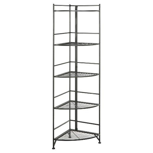 58 5 Tier Folding Metal Corner Shelf Johar Furniture Convenience Concepts Corner Shelves Shelves