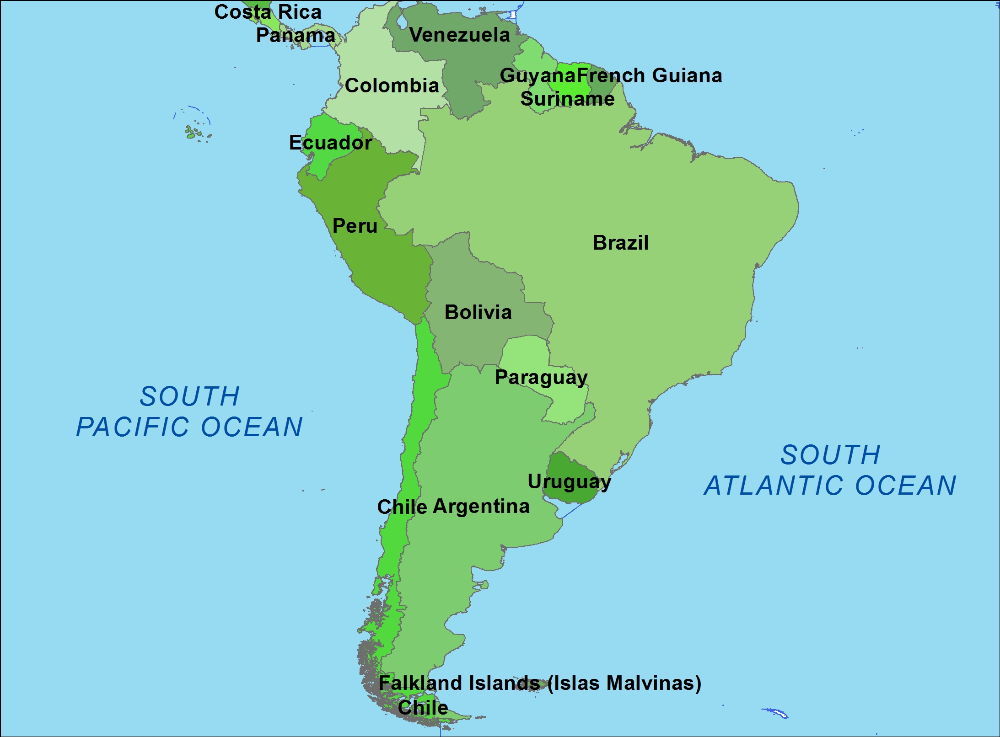How Many Countries In South America Google Search