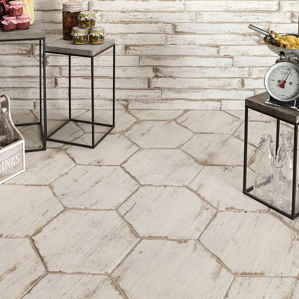 Merola Tile Retro Hex Blanc 14 1 8 In X 16 4 Porcelain Floor And Wall 10 76 Sq Ft Case Fnurtxbl The Home Depot