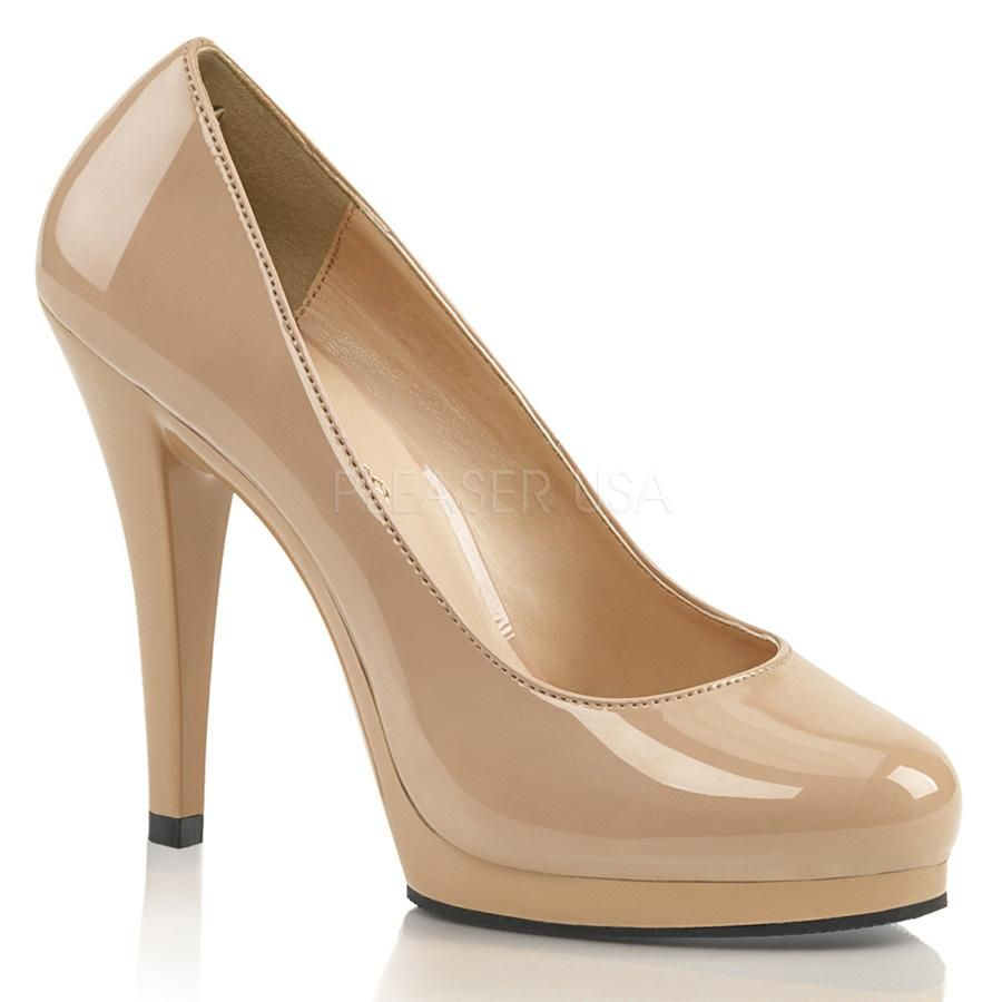 PLEASER Sexy Nude Cream Tan Curve Platform 5 High Heels