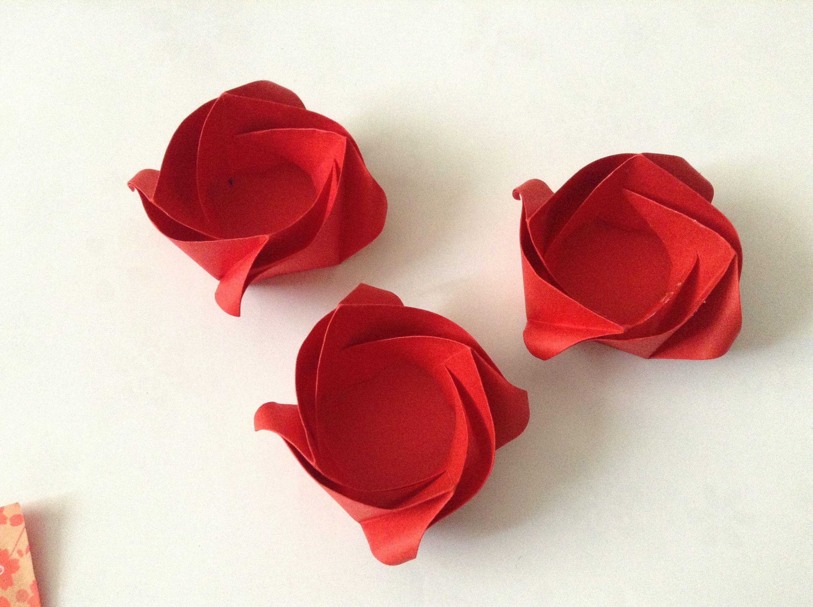 Estuche chocolate, origami rose