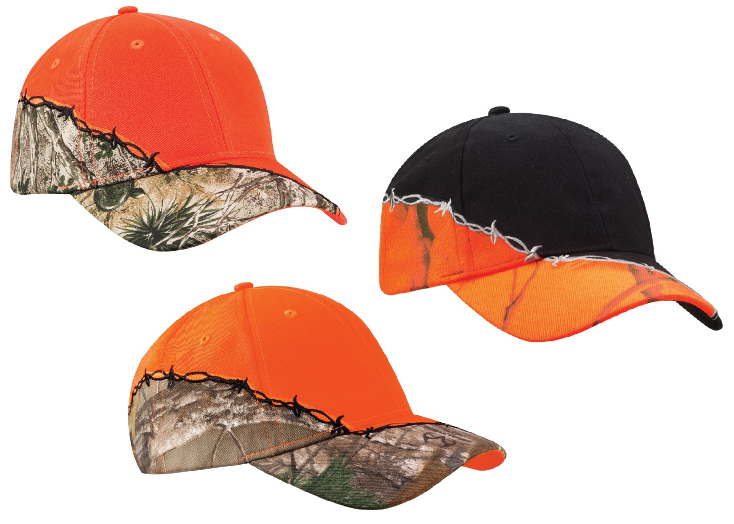 3276ea7eb Barbed wire embroidery shows you're dangerous. Camo shows you're enigmatic.  And blaze orange? You're into safety. No matter your mood, this hat has you  ...
