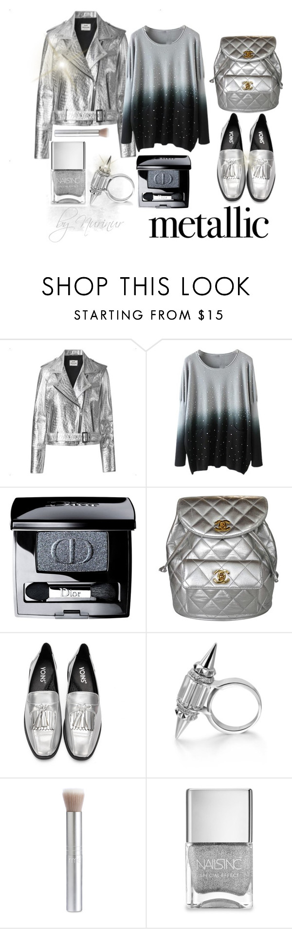 """Metal look ... the future today"" by nurinur ❤ liked on Polyvore featuring Mads Nørgaard, Christian Dior, Chanel and Nails Inc."