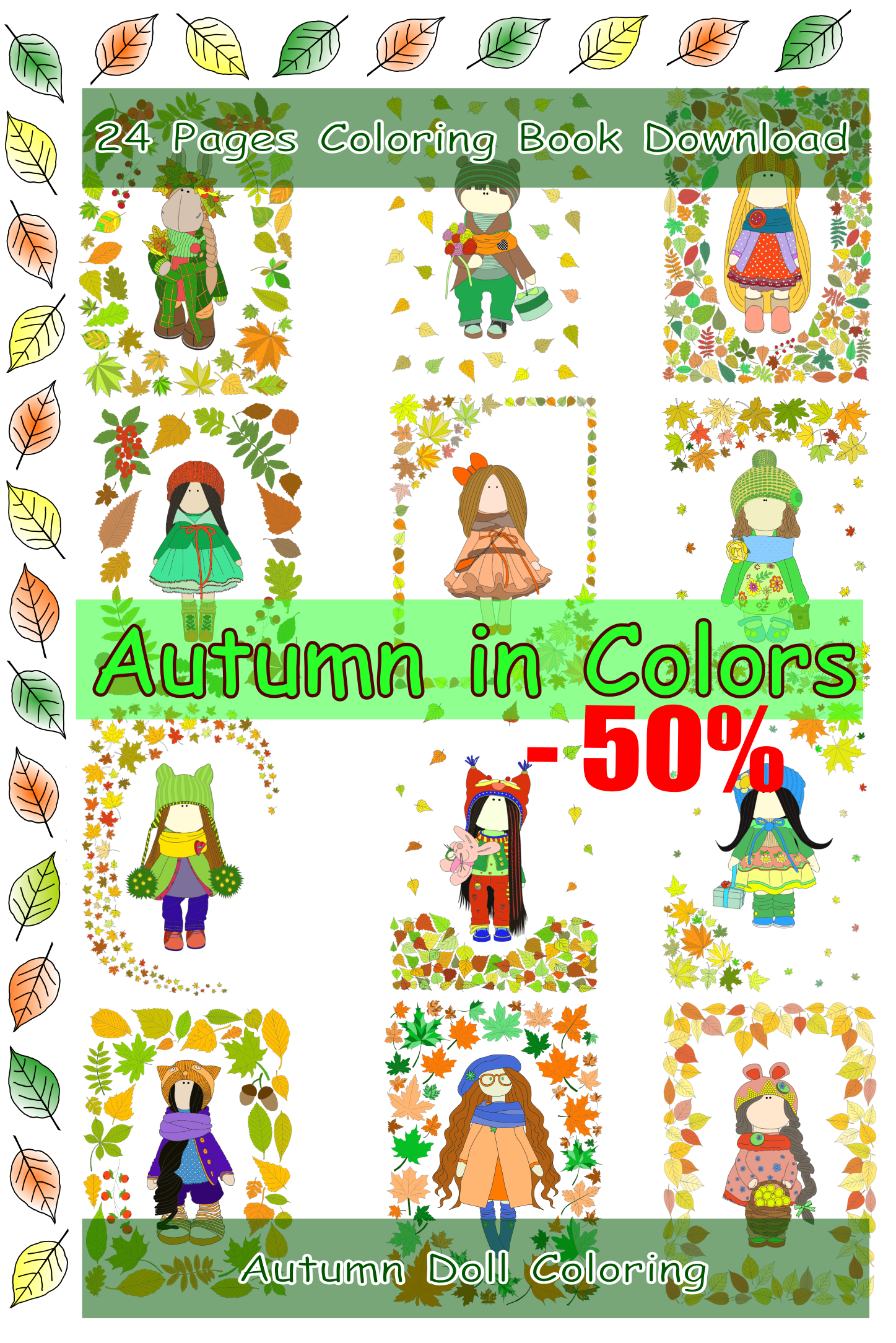 Colouring Pages to Color Handmade Dolls Kids Adult Coloring Autumn ...