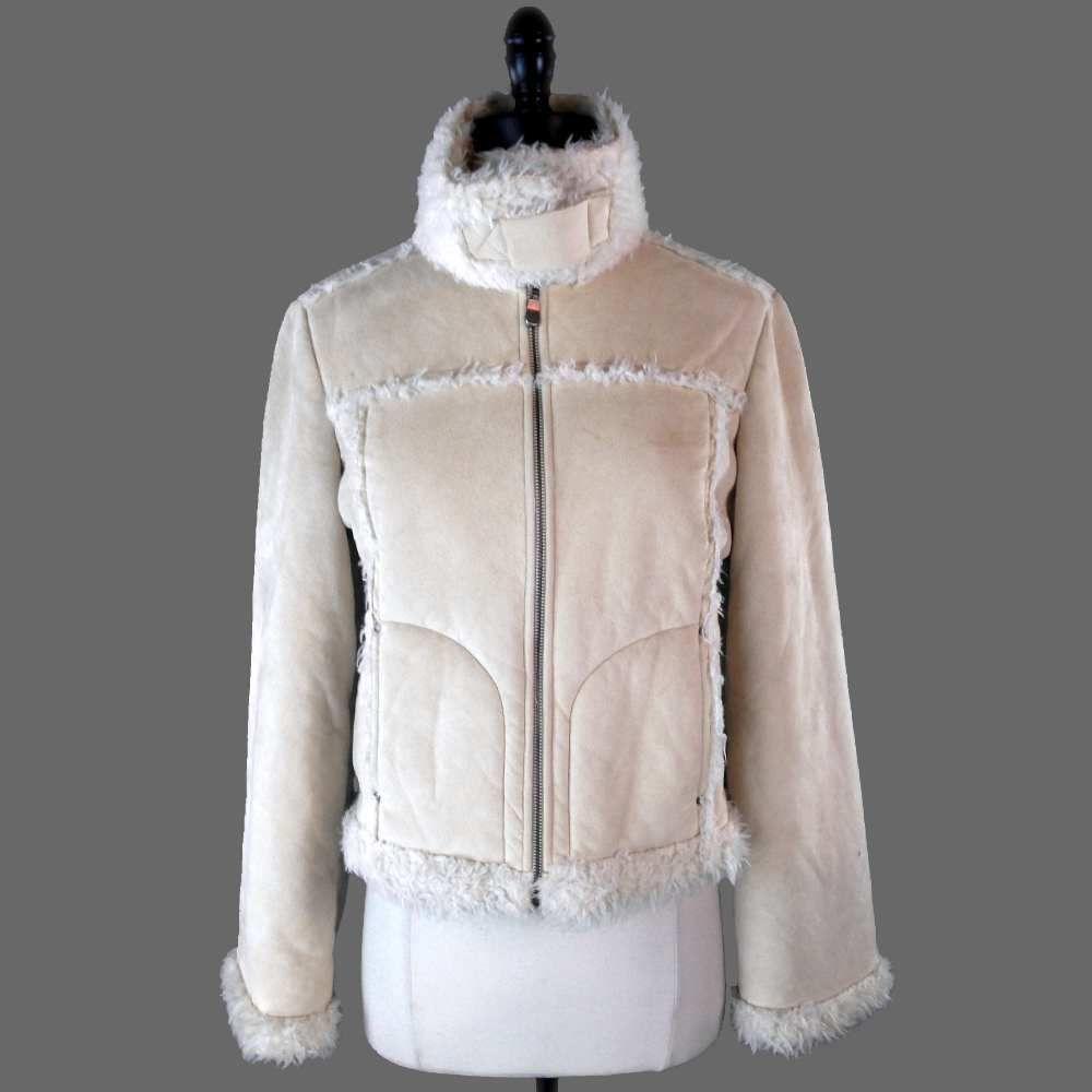 Bebe Coat M Cream Faux Shearling Faux Suede Jacket Polyester Winter Jacket #Bebe #BasicCoat