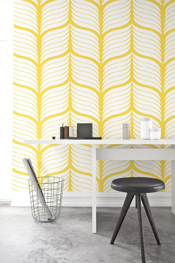 Yellow Leaf Self Adhesive Wallpaper Removable Wallpaper Leaf Wall Mural Leaf Wallpaper 114 Snow Lemon Wallpaper Walls Decor Interior Wallpaper Decor