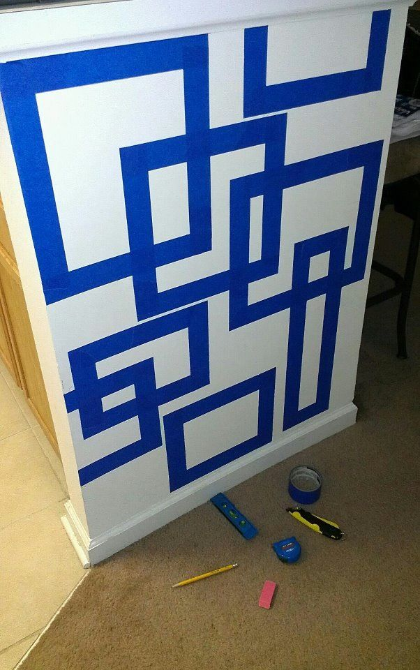 Love This Dyi Idea Tape Down Your Design Then Paint Over It Diy Wall Painting Painters Tape Design Wall Paint Patterns