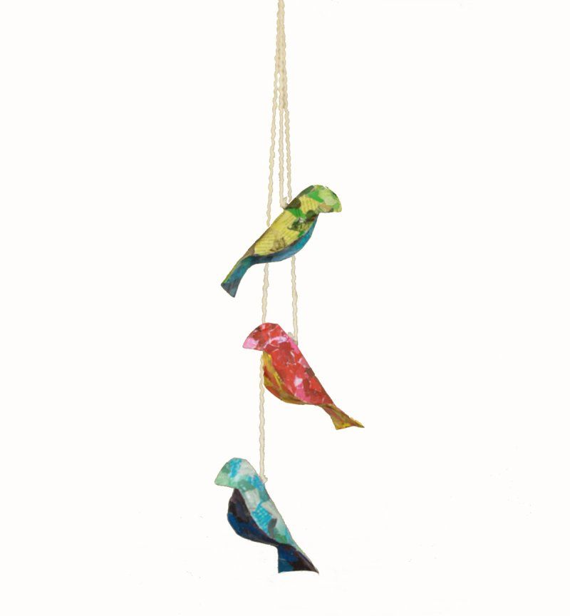 Recycled paper bird strand