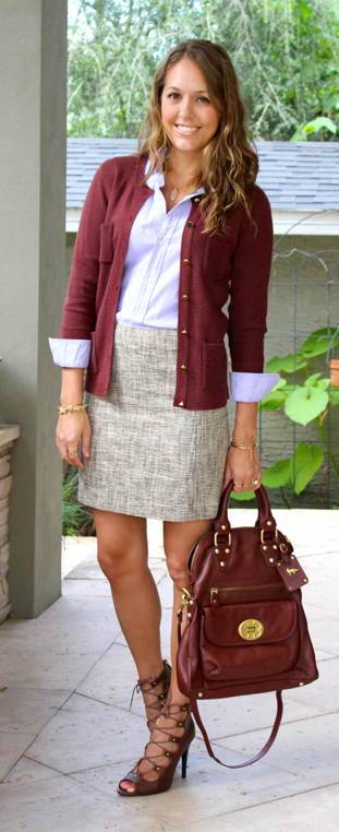 Today's Everyday Fashion: Tweed and Burgundy Hate the shoes, love everything else.