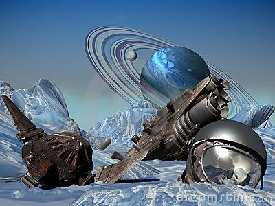 Pieces of a crashed spaceship, and space helmet with the skull of an astronaut, on an iced planet.