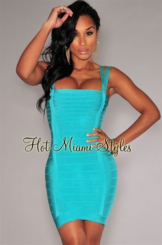 f63552c47d8c Turquoise Double Straps Arched Bandage Dress Womens clothing clothes hot  miami styles hotmiamistyles hotmiamistyles.com sexy club wear evening  clubwear ...