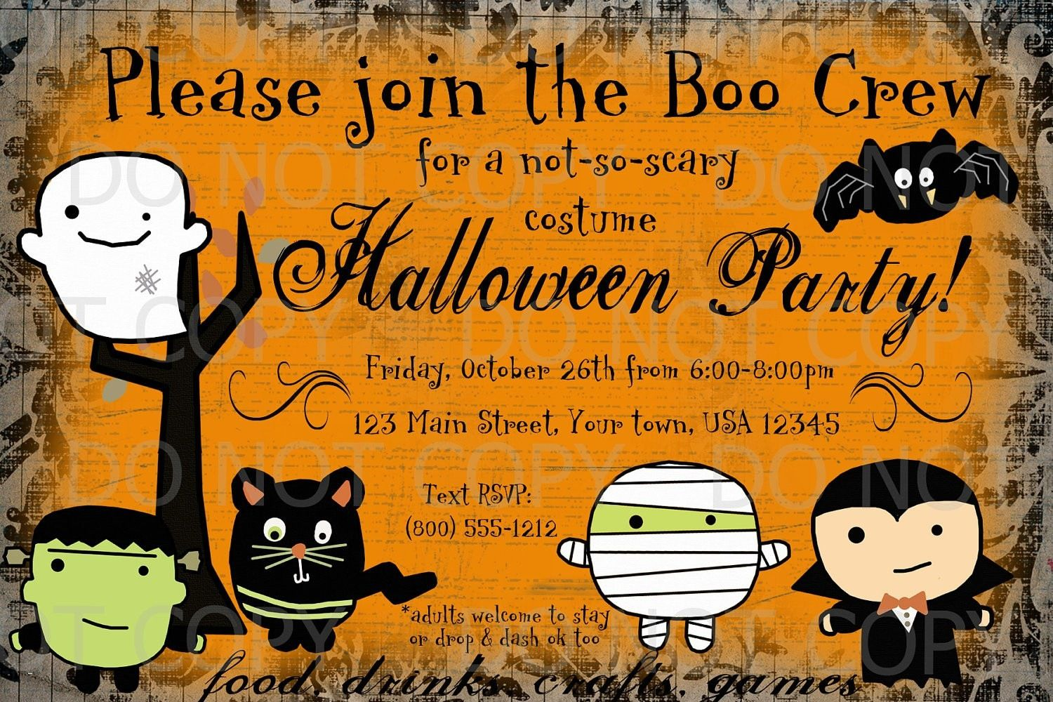 image relating to Free Printable Halloween Invitations for Adults identify free of charge printable halloween invites for older people attractive