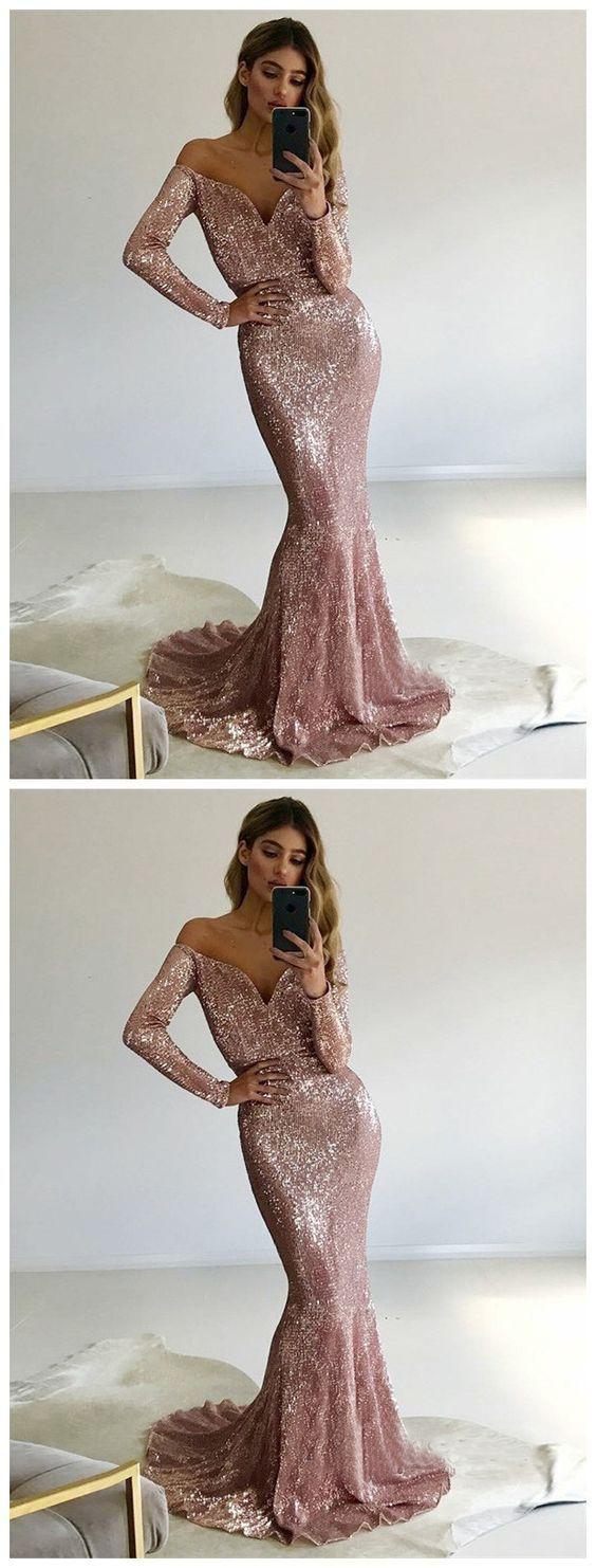 Mermaid prom dressoff shoulder party dress long sleeve prom dress