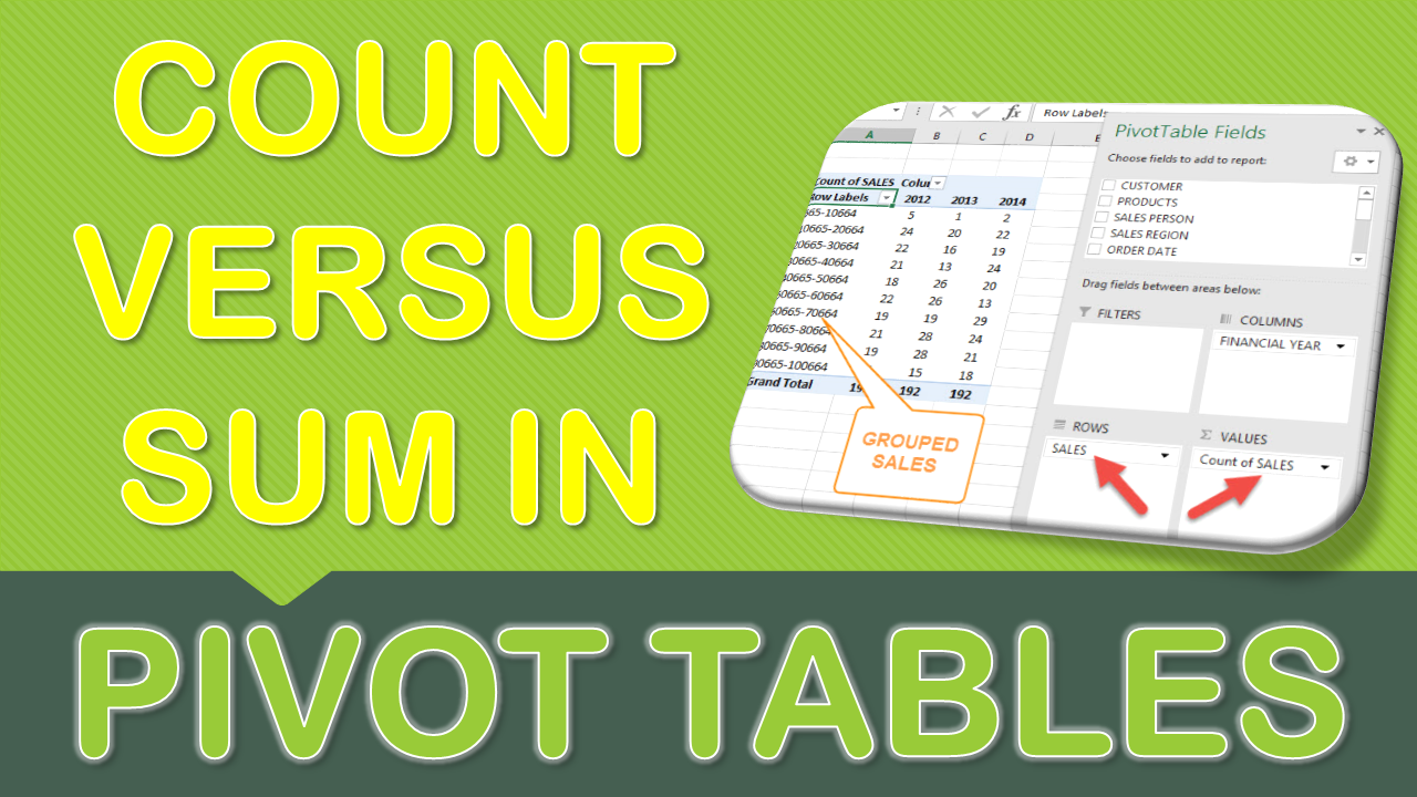 Count VS Sum in Pivot Tables ExcelRelated Pivot table