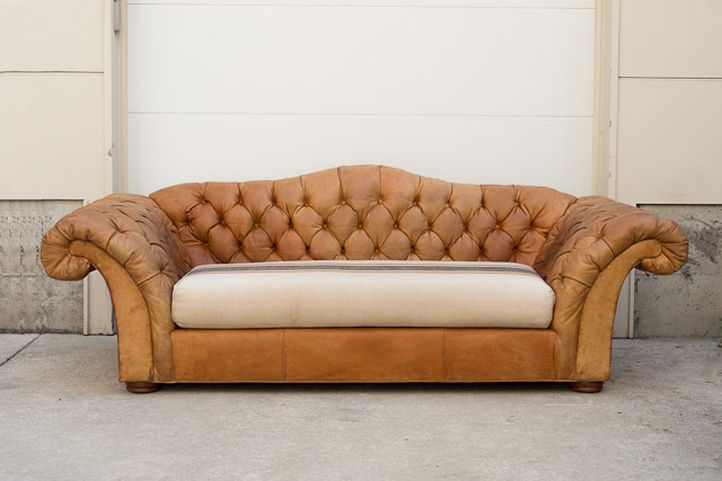 Distressed Leather Camel Back Chesterfield Sofa