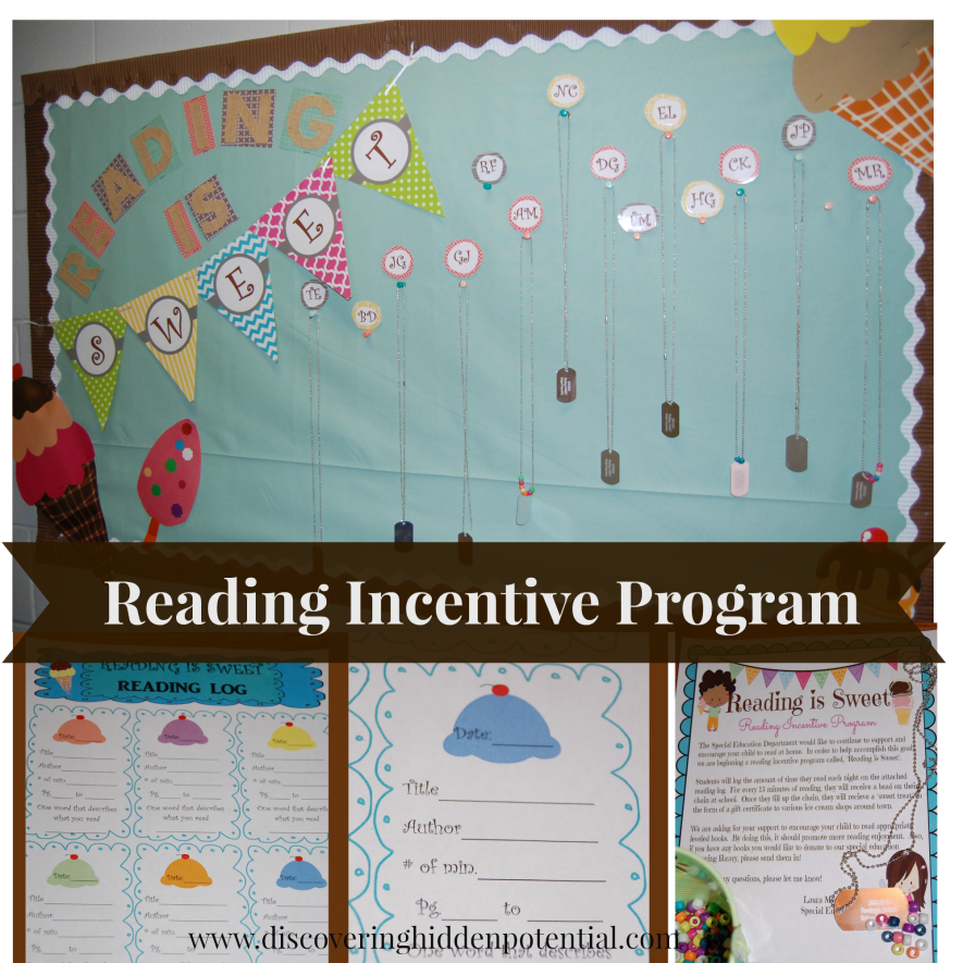 """Students log the amount of time they read each night on a reading log.  For every 15  minutes of reading they receive a bead on their chain.  Once they fill up one side of the chain they will receive a """"sweet treat"""" in the form of a gift card from a local ice cream shop."""