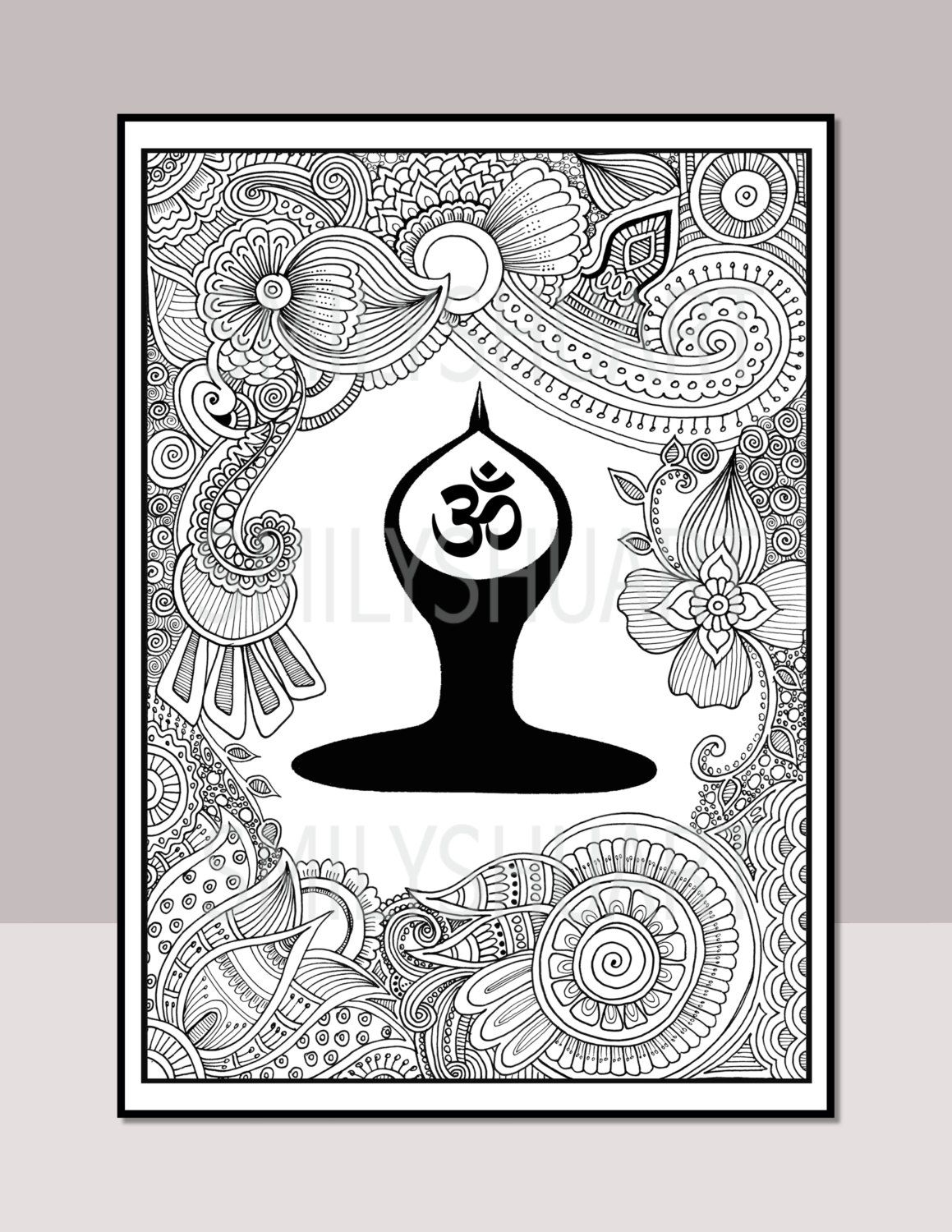 Coloring pages yoga -  Mandala Para Colorear Om Yoga Printable Zentangle Adult Adult Coloring Pagescoloring