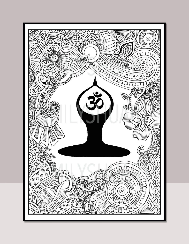 OM Yoga Digital Wall Art, Meditation Space Wall Art, Printable Adult ...