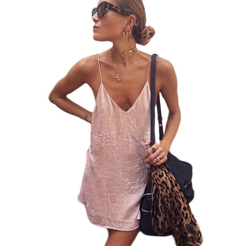 Encontrar Más Vestidos Información acerca de Slip sexy velvet dress ...