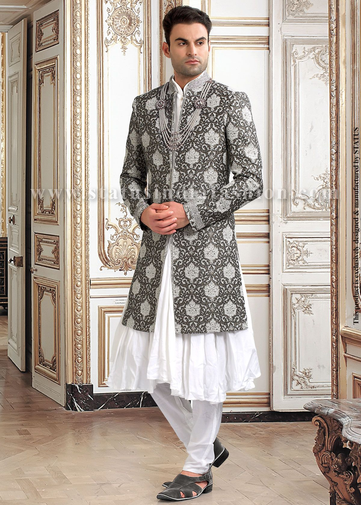 546f471898 Grey Designer Indo Western Sherwani | Navy Blue With White Color ...