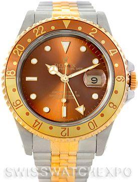 Rolex GMT Master II Mens 18k Yellow Gold Steel Watch 16713