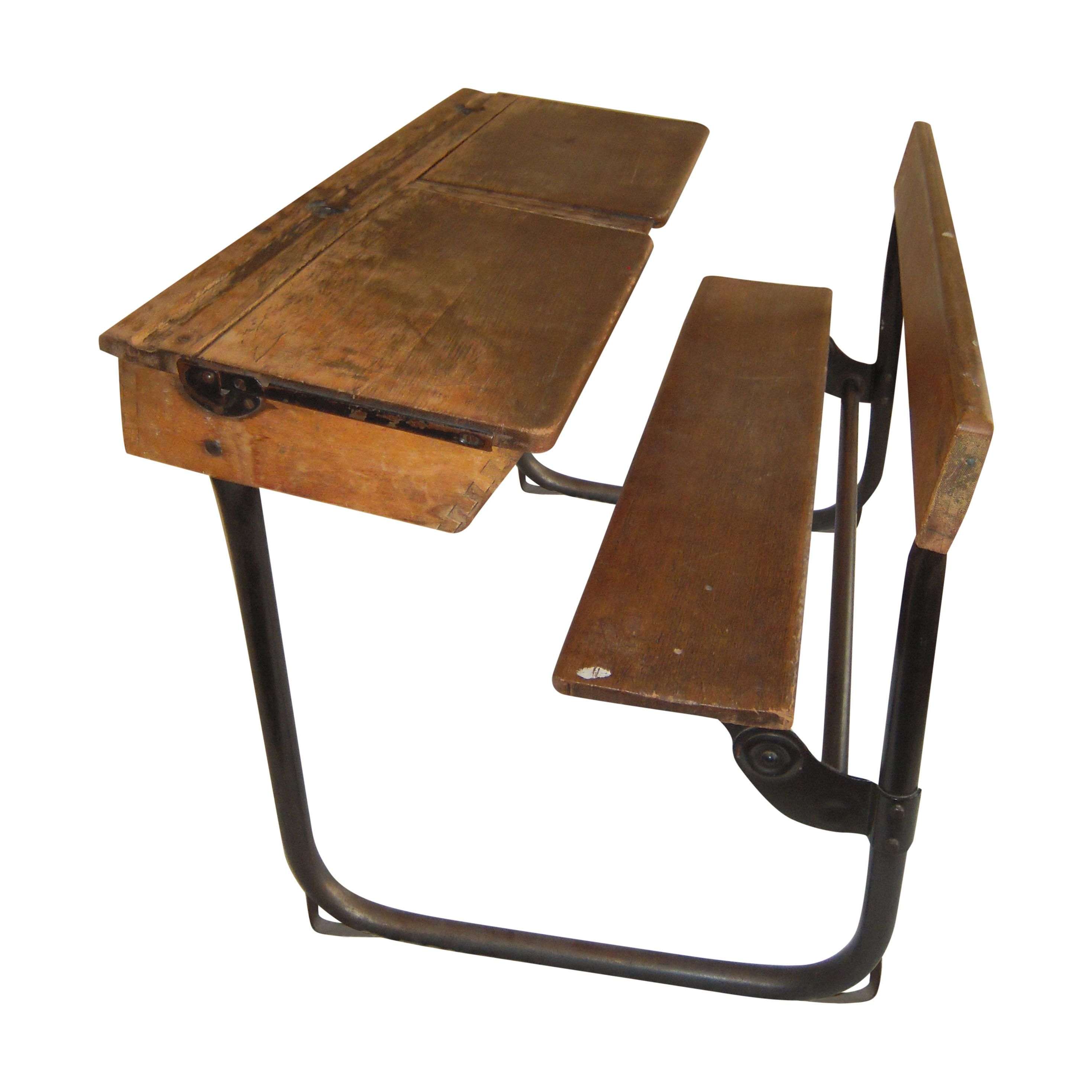 vintage wooden double school desk with bench seat | furniture