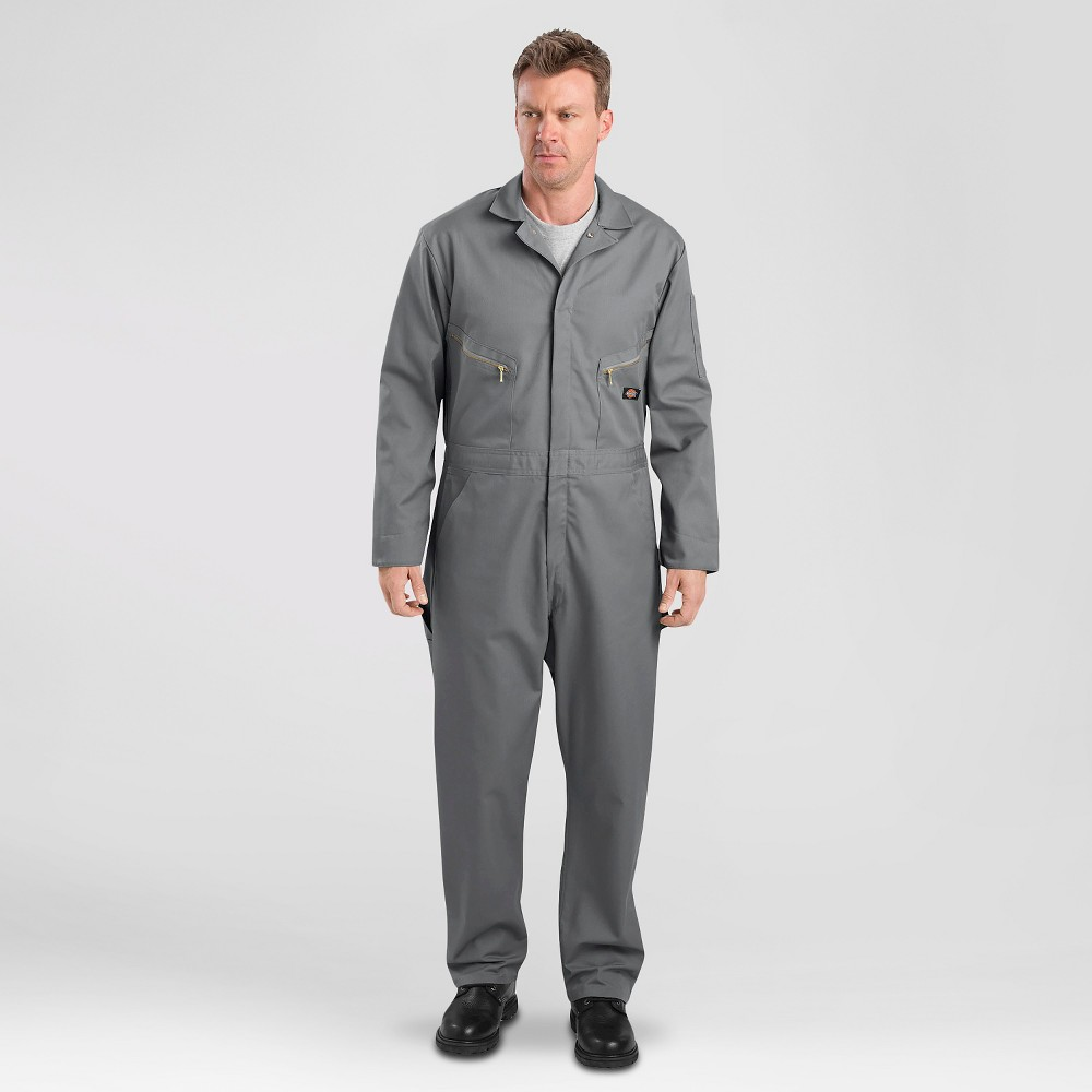 Dickies Men's Deluxe Long Sleeve Blended Twill Coverall- Gray XL Short