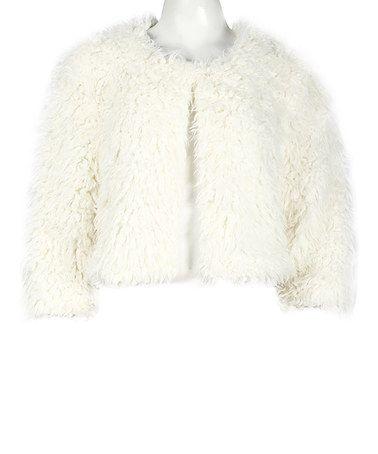 Love this Ivory Faux Fur Silk-Blend Jacket on #zulily! #zulilyfinds