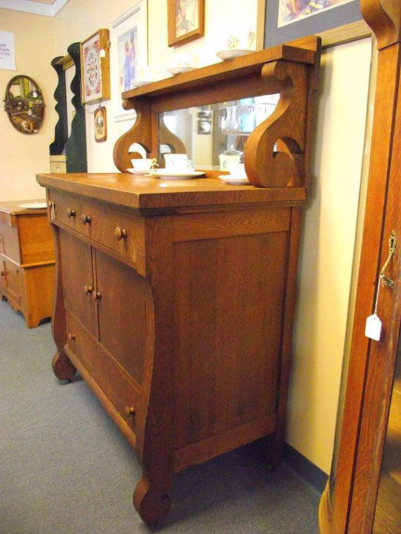 antique empire tiger oak buffet sideboard server cabinet with mirror rh pinterest com