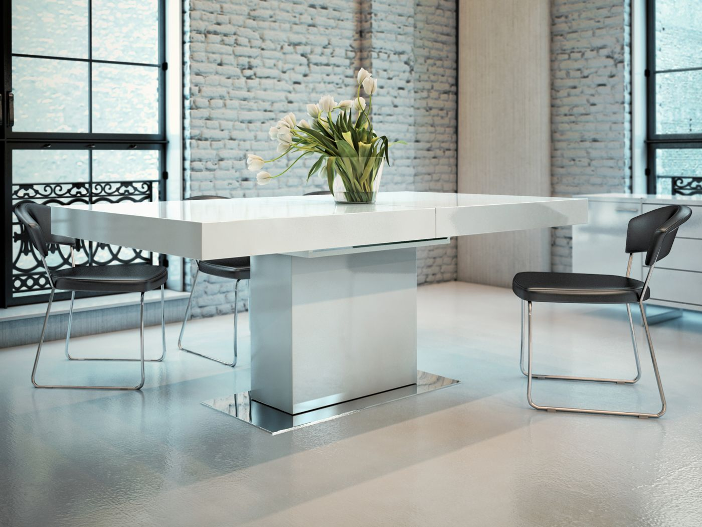 Astor Dining Table | Extendable dining table, Chrome and Dining