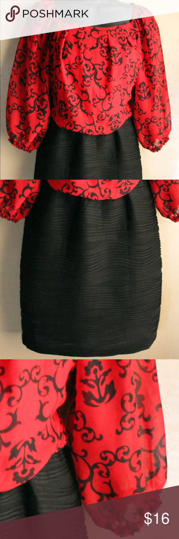 Long Sleeve Dress Beautiful  sheer sleeves. Stretchy bottom. Very cute! Good condition. Dresses Mini