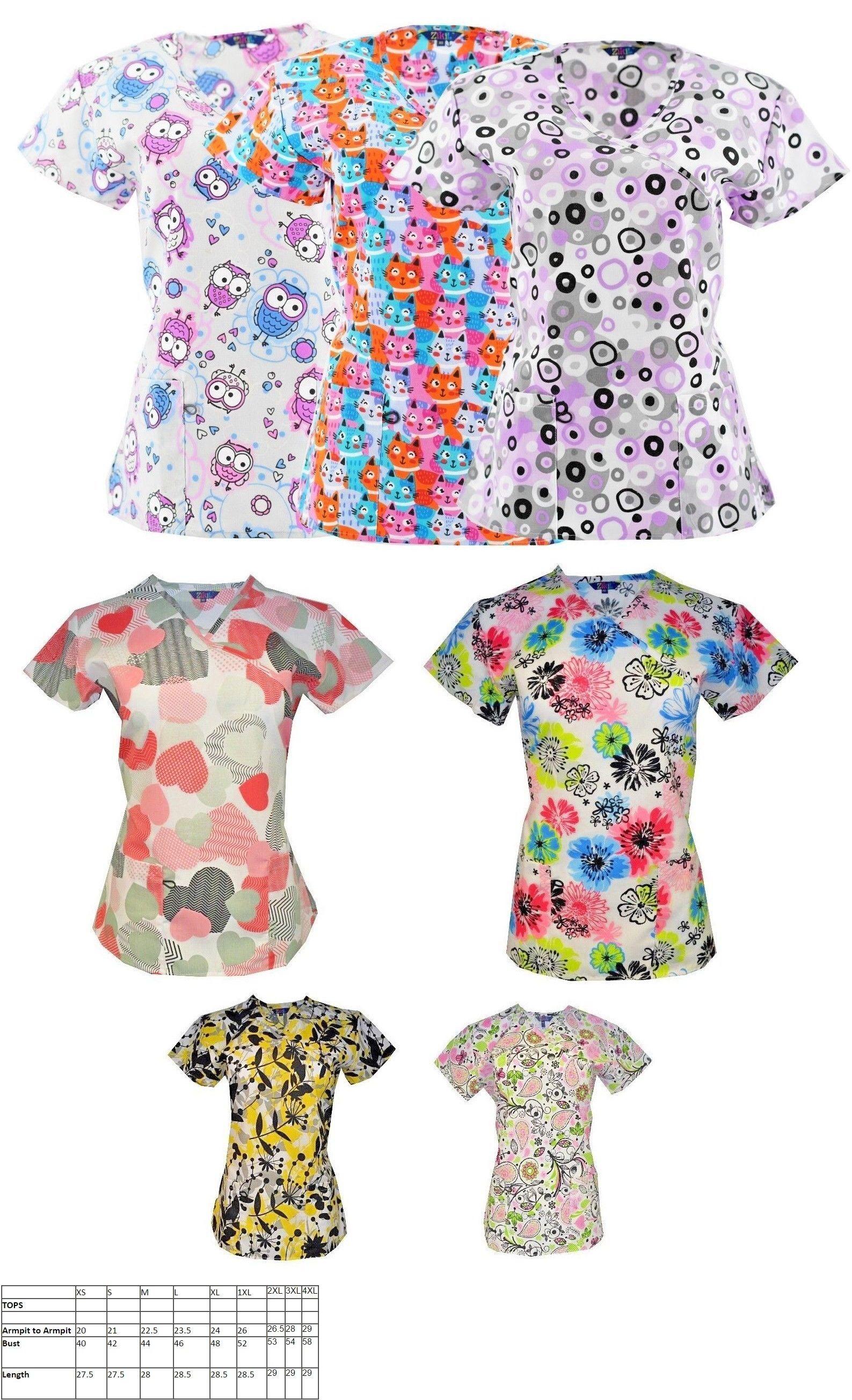 f2c40b50e24 Scrubs 105419: Women S Nursing Scrub Tops Printed Medical Uniforms Plus  Sizes Xs S M L Xl 2X 3X -> BUY IT NOW ONLY: $12.99 on #eBay #scrubs #women # nursing ...