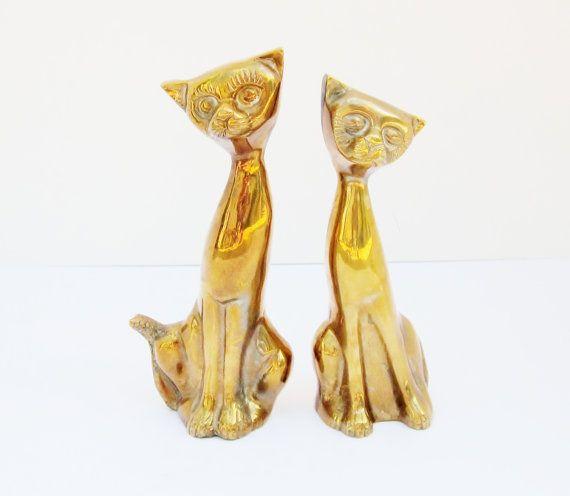 Mid Century Brass Cat Figurines Vintage Abstract Art by jarmfarm,