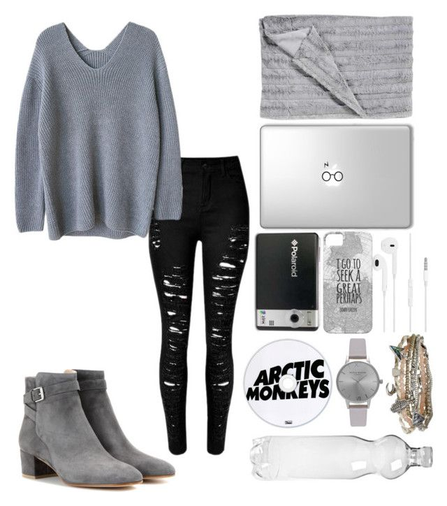 """""""Grey #1"""" by kaleyyy00 ❤ liked on Polyvore featuring Polaroid, Olivia Burton, Aéropostale and Gianvito Rossi"""