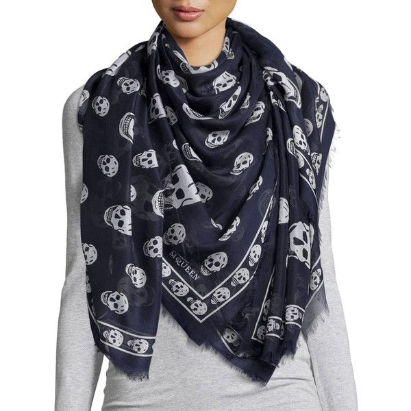Alexander McQueen Big Skull-Print Shawl (€670) ❤ liked on Polyvore