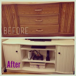 I turned an ugly dresser into a fabulous TV stand! Here's my post on how I did it.