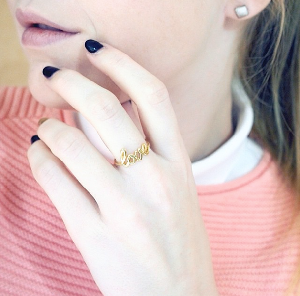 """Ring """" love """" Don't forget to post a picture of your own Thea jewel with the hashtag #Theajewelry"""