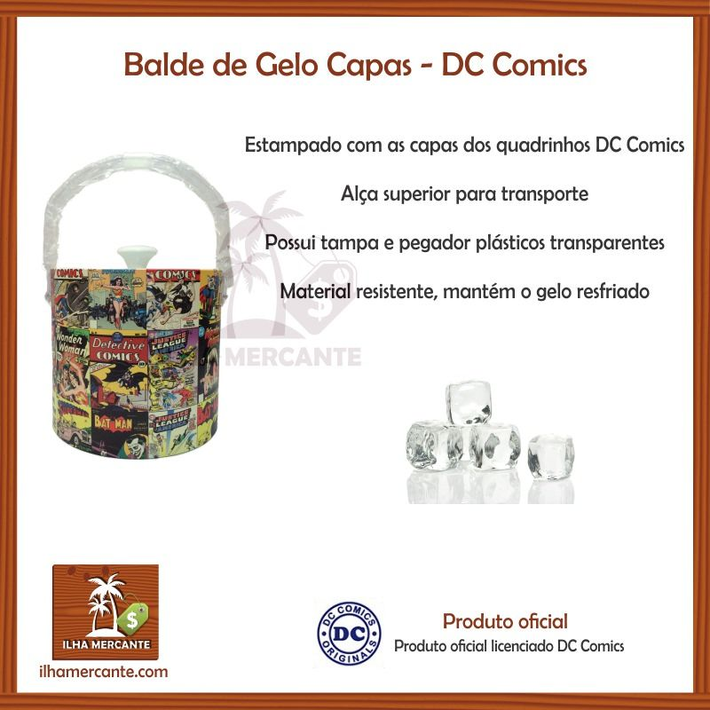 Destaque da Ilha Mercante ! Balde de Gelo Capas - DC Comics. Compre o seu em http://ilhamercante.com/produto/1058