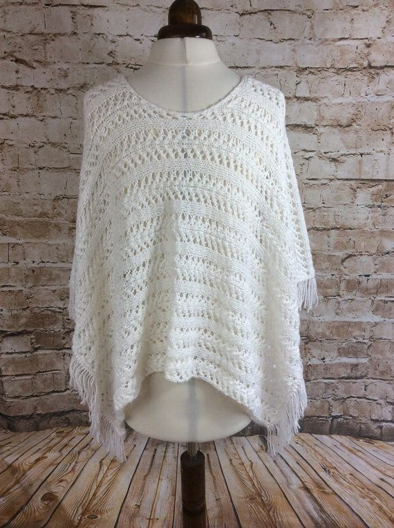 Vintage Poncho White Hand Knitted Lacy Patterned Fringed c ...