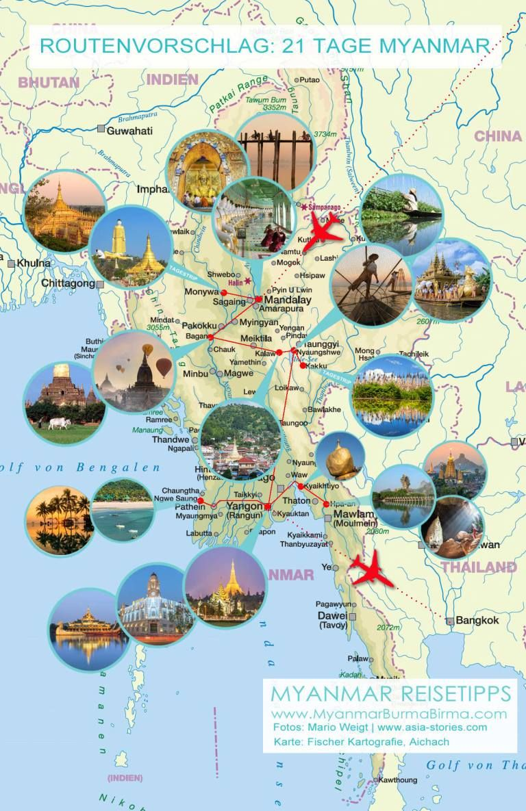 Karte Mit Fotos Fur Den Routenvorschlag 21 Tage 3 Wochen Myanmar Von Mandalay Nach Yangon Myanmar Reisetipps Yangon
