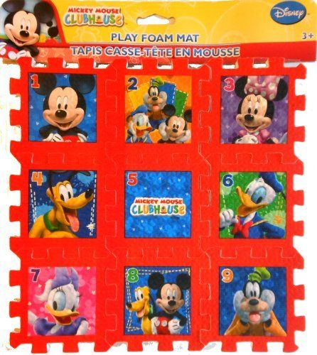 Disney Mickey Mouse Clubhouse Red Tiles Foam Play Mat Puzzle 9 X
