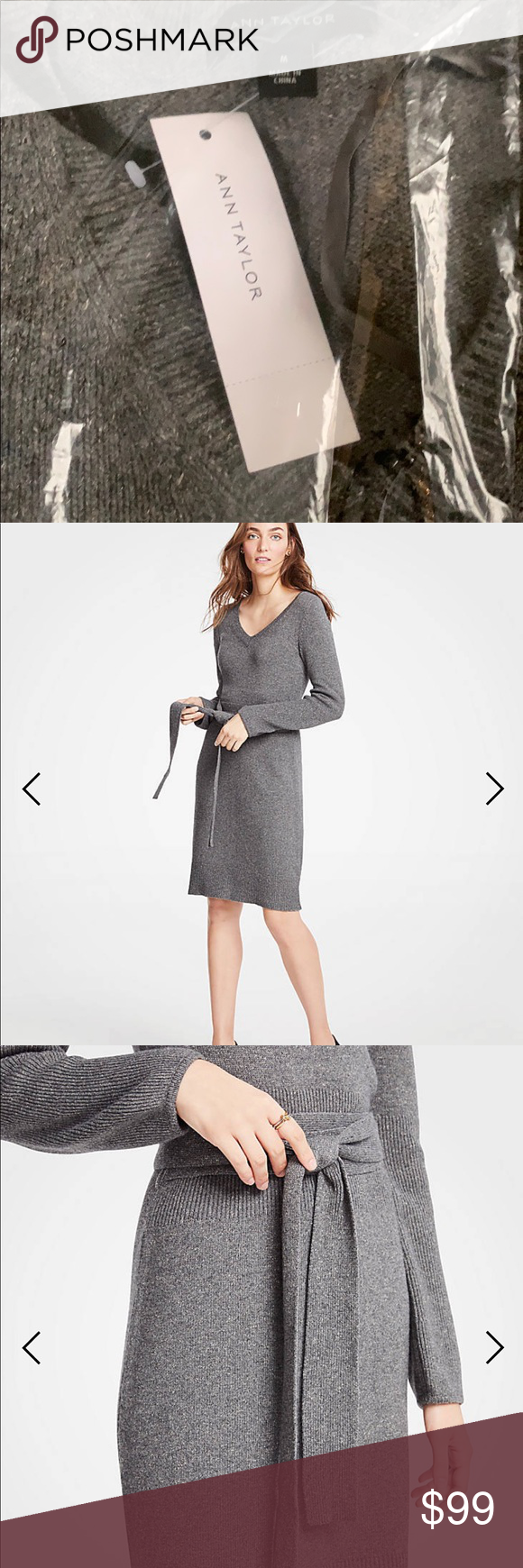 aa9886c74fe Ann Taylor tie waist v-neck sweater dress-M STYLE  484371 New w tags and in  bag Ann Taylor dress - beautiful gray Meet your real-life uniform  this is  ...