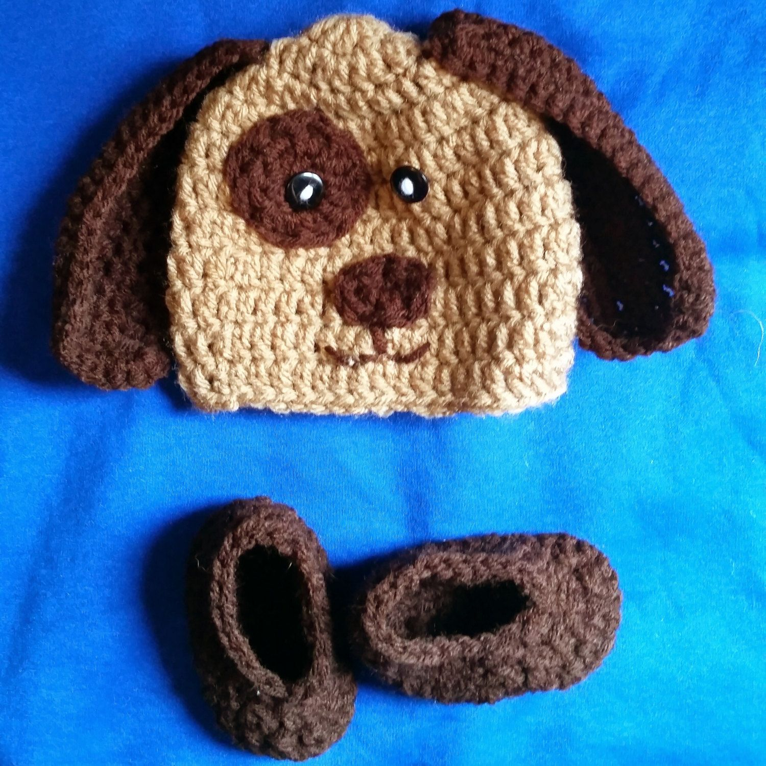 Crochet Puppy Dog Hat and Matching booties by KissedbytheMoonB on Etsy