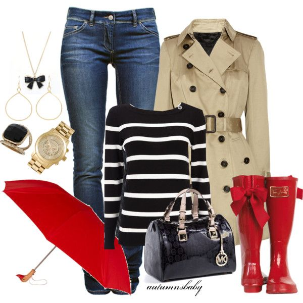 rainy day..boots with bows -girlie and works for me with a red umbrella and striped top. Love the bag
