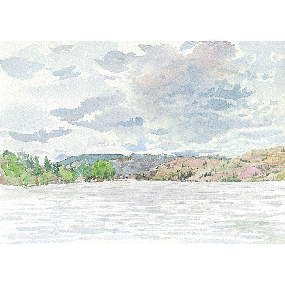 Summer Kalamalka Lake Plein Air Watercolor painting