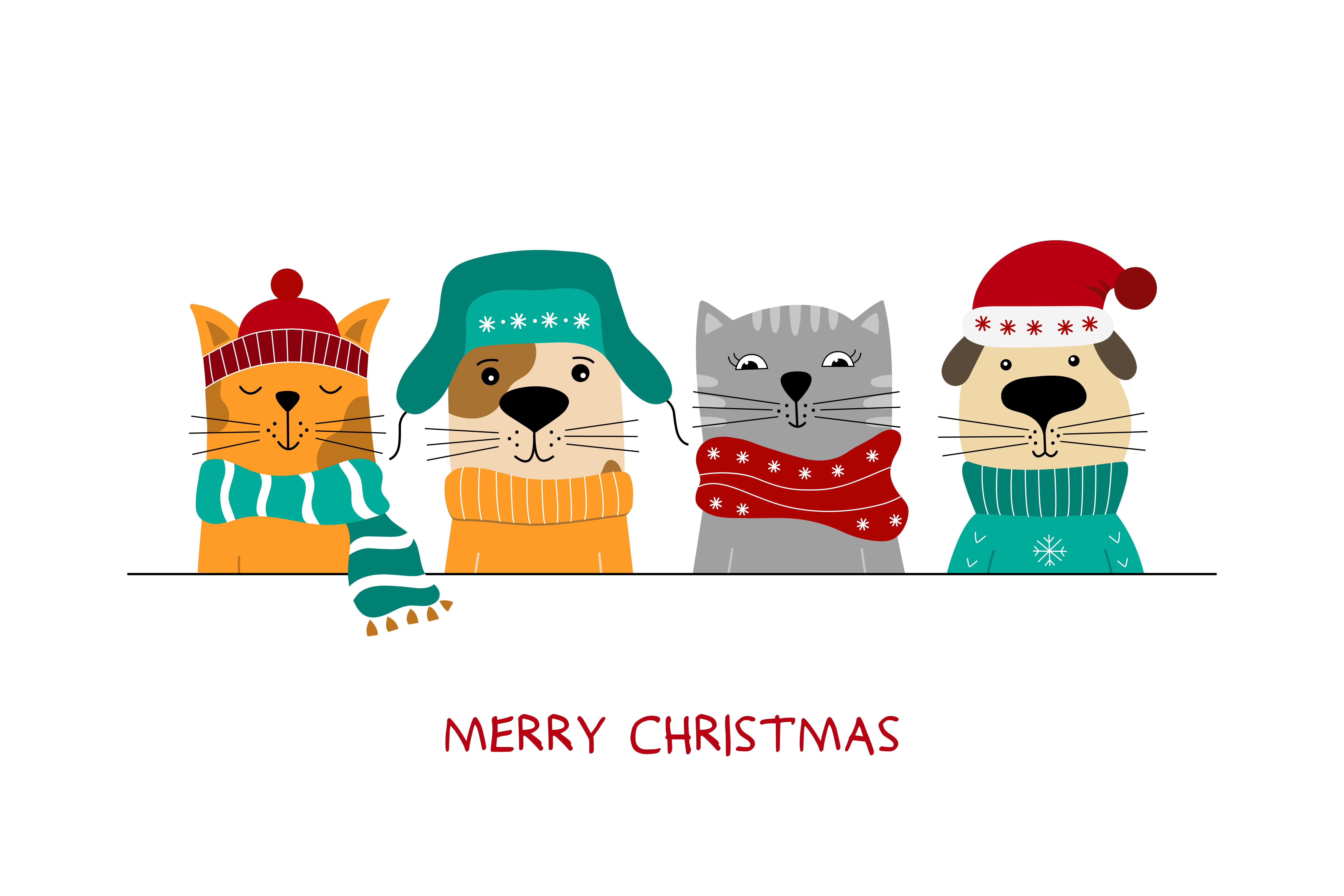 Merry Christmas illustration of cute cats and funny dogs