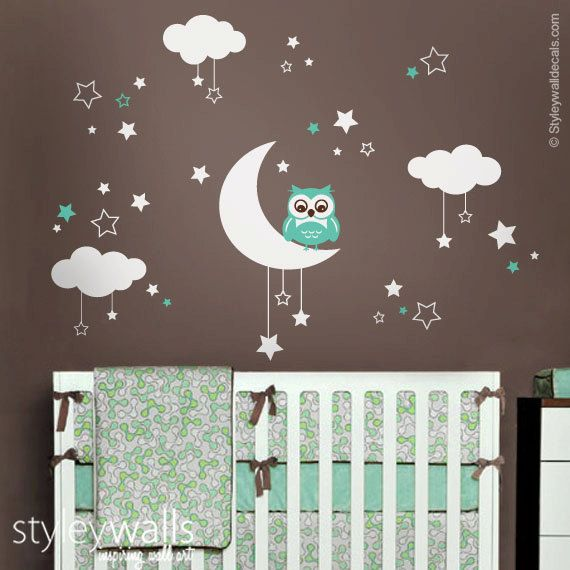 Owl Wall Decal Owl Moon Stars And Clouds Wall Decal Moon And - Nursery wall decals clouds