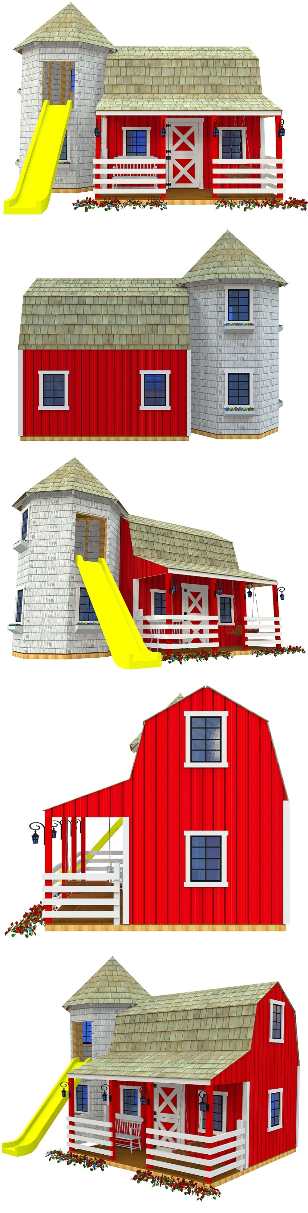 Barn silo playhouse plan cubby houses for kids and for Barn and silo playhouse