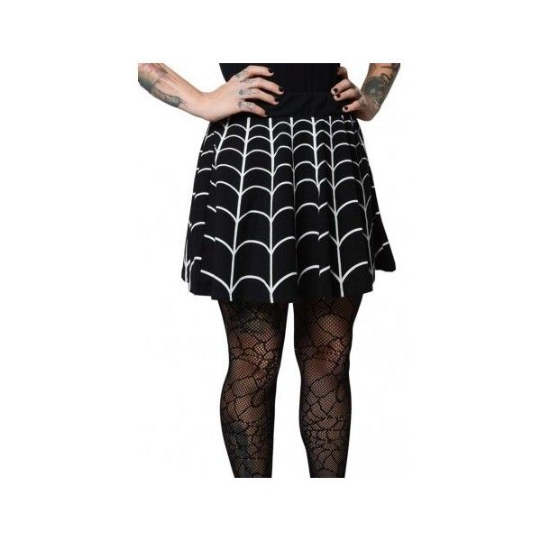 Kreepsville 666 Web White Skater Skirt Attitude (£32) via Polyvore featuring skirts, mini skirts, white skater skirt, short skirts, flare skirt, short mini skirts and mini skater skirt