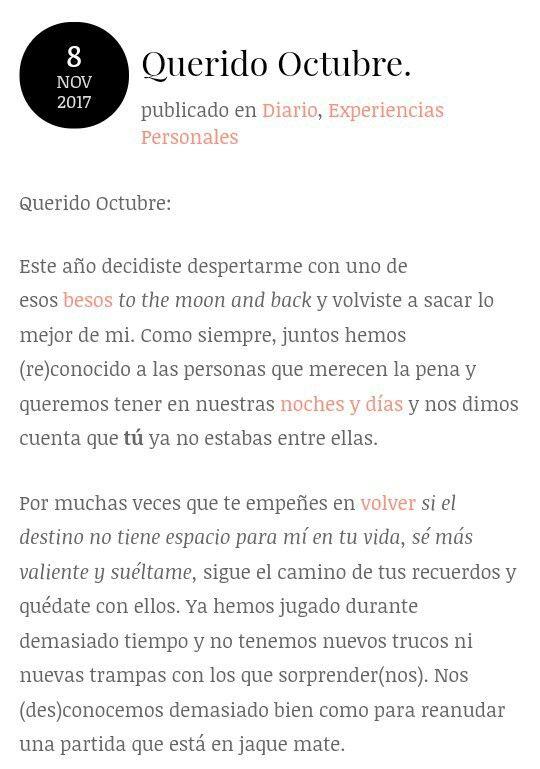 Querido Octubre. | Blog